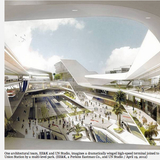 One architectural team, EE&K and UN Studio, imagines a dramatically winged high-speed terminal joined to Union Station by a multi-level park. (EE&K, a Perkins Eastman Co., and UN Studio : April 19, 2012)