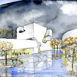 Drawing of one of the Yishudao/Art Islands. Image: Steven Holl Architects.