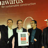 """Winners of the Holcim Awards Gold 2011 Asia Pacific for """"Locally-manufactured cob and bamboo school building, Jar Maulwi, Pakistan"""" (l-r): Eike Roswag, Ziegert Roswag Seiler Architekten Ingenieure, Germany, Arne Tönissen, Akim Jah and Karim Jah."""