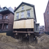 Orchard St. historic renovation shored on cribs and getting ready for new foundation via Brian Milbury