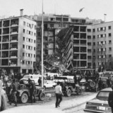 American Embassy in Beirut, Lebanon, after a huge bomb blast caused the collapse of the entire front of the seven-story structure, April 18, 1983. Photo: AP Press.