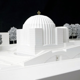 Model of St. Nicholas Greek Orthodox Church, 2013. New Model in progress (scale 1:20). Wood, Plexiglas, Polystyrene, metal, cm 210.5 x 130.5 x 135. Photo of an existent model (scale 1:100). Property of Studio Calatrava © Santiago Calatrava