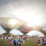 Floating Lake pavilion for the London Olympics (unbuilt) by LEESER Architecture. Image © LEESER Architecture
