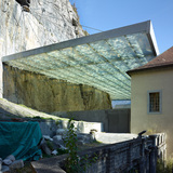 Canopy over the archaeological ruin St-Maurice in Sion, Switzerland by savioz fabrizzi architectes; Photo: Thomas Jantscher