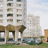 Prefabricated apartment blocks in St. Petersburg, Russia.