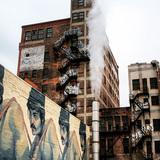 Julie Huff, Detroit, MI. Mural and steam pipe, 2015.