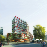 Acknowledgement Prize: Medium rise timber office building in low-to-no carbon emissions district, Helsinki, Finland by Sauerbruch Hutton in collaboration with Arup, UK and Experentia, Italy: Principal elevation.