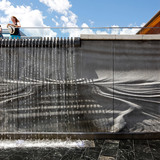 Water-feature wall outside the Baggage Building Arts Centre