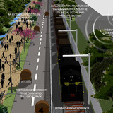 Acknowledgement Prize: Urban renewal and transport circuit, New Delhi, India by Madhav Raman and Vaibhav Dimri, Anagram Architects, India: Aerial view.