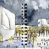 Drawing: Yishudao South Entry Plaza. Image: Steven Holl Architects.