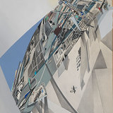 """Zaha Hadid (British, b. Iraq 1950), """"The World (89 Degrees),"""" 1984. Arial view; compilation of projects to date. Print with hand-applied acrylic and wash on paper, 27 1/2 x 22 5/8"""". Collection of the Alvin Boyarsky Archive. Courtesy of Zaha Hadid Architects."""
