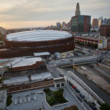 """As the sun sets over the Barclays Center arena, a new era is about to begin. The developer says that the 16 towers planned around the arena – almost all residential – will eventually be built in two phases, and the project goals of """"Jobs, Housing, Hoops"""" will be fulfilled. Credit: Victor..."""