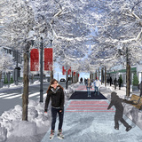 COLDSCAPES winner: The Freezeway by Matthew Gibbs, Edmonton, Canada. The Freezeway proposes an 11 km greenway that can be transformed into a skating lane, effectively combating the sedentary lifestyle that can take hold during the bitterly cold winter months.
