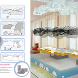Holcim Silver Award: City hall and civic center recycled from former factory: Total change inside, creating a luminous landscape of clouds; a sheltered public space within a controlled weather environment, where simple modular clusters may be arranged.