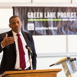 U.S. Secretary of Transportation Anthony Foxx welcomes the six new Green Lane Project cities at a kickoff in Indianapolis today. Photo credit: PeopleForBikes Green Lane Project