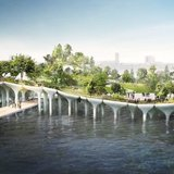 An artist's rendering of the combined park-performance space that the billionaire Barry Diller and the Hudson River Park Trust envision along the Hudson River. Credit Pier55, Inc. Heatherwick Studio