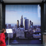 Displayed in fall 2011 at the marketing office for 20 Fenchurch Street, this visualization imagined how the new cluster of skyscrapers around the Gherkin would appear from across the Thames. Photograph by Jonathan Massey.