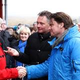 BIG Founding Partner Bjarke Ingels, BIG Partner Finn Nørkjær and Helena Dam, the Faroe Islands Minister of the Environment (from right, Photo: Kári Mikkelsen/Landsverk)