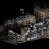 A 3d visualisation of the Mackintosh Building looking south from Renfrew Street towards Sauchiehall Street. Image: The Digital Design Studio at The Glasgow School of Art.