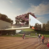 1st-prize WKCD Arts Pavilion proposal by VPANG architects ltd + JET Architecture Inc + Lisa Cheung. Image via via westkowloon.hk