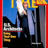 Philip Johnson gets to hold his little Johnson model of the AT&T building via Leibchen