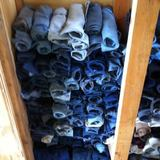 Two tons of waste denim jean legs & arms were used for wall insulation. Photo courtesy of Duncan Baker-Brown