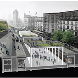 Third Prize: Adaptable Street by Maxime Rousseau and Paul Jaquet: Sections through street