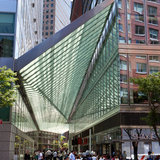 The canopy designed by Preston Scott Cohen covers North End Way, a pedestrian alley in Battery Park City photo by Richard Perry:The New York Times
