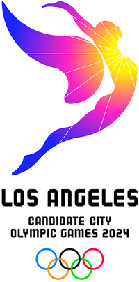 Wheeee! A leaping gradient angel symbolizes the aspiration of Los Angeles to welcome the world to the 2024 Olympic Games. (Credit: LA 2024)