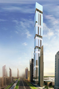 Just one of several recently announced contenders vying to become the emirate's second tallest skyscraper: Entisar Tower, a 100-plus-story structure on Sheikh Zayed Road. (Image via emirates247.com)