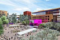 The proposed 14-acre Salesforce campus, designed by Legorreta and Legoretta of Mexico City, envisions a colorful collection of compact, and open, buildings.