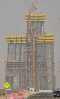 They all start out this small: January '16 construction photo of what is set to become the world's tallest tower with a final height of 1 kilometer. (Image via Wikipedia)