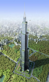 Rendering of Sky City in Changsha, China, in all its 220-story glory. Image via Wikipedia.