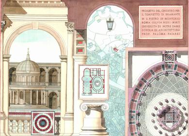 2004 - Bramante's Tempietto courtyard proposal. Watercolor rendering.