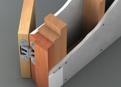 Flush door in trimless opening