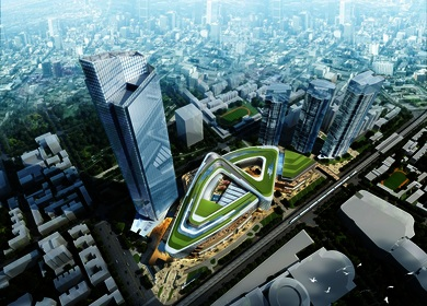 Aedas designs a Chinese knot tie-inspired mixed-use development with a super high-rise tower