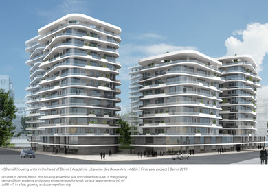 Housing complex in the heart of Beirut   FYP   Academie Libanaise des Beaux Arts, ALBA