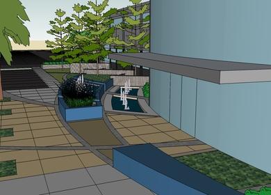 Sketch-Up Office Building and Landscape