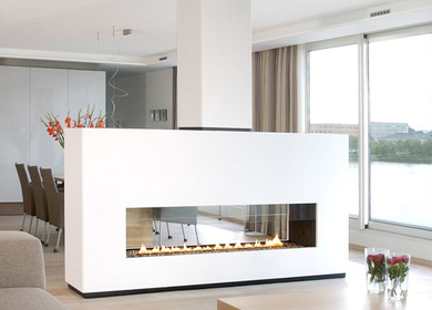 Double sided contemporary fireplace
