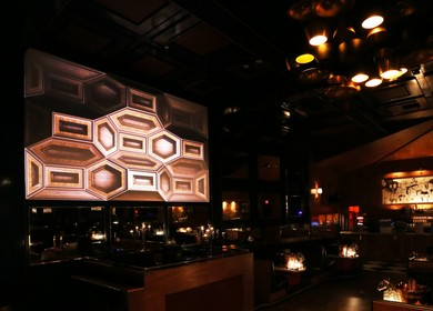Hooray Henry's 3D Mapped DJ Wall