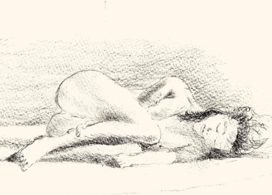 Drawing - woman sleeping