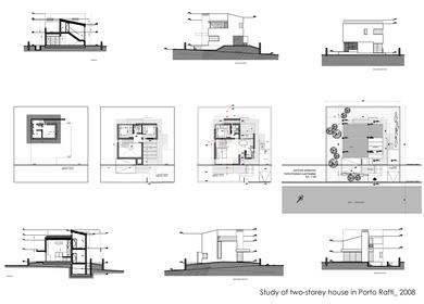 Study of two-storey house in Porto Rafti, Attica, Greece