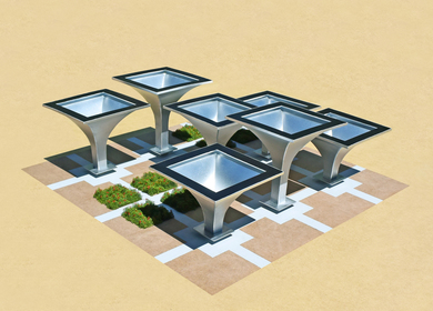 The Solar Rain Funnels (A functional public art gathering place)