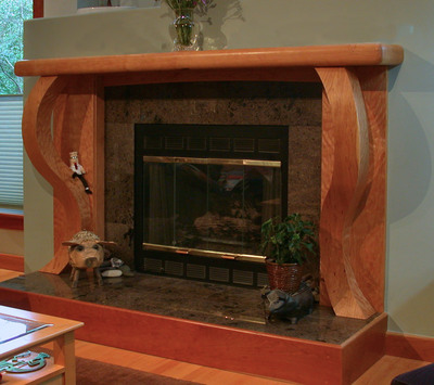 Figured Cherry Fireplace