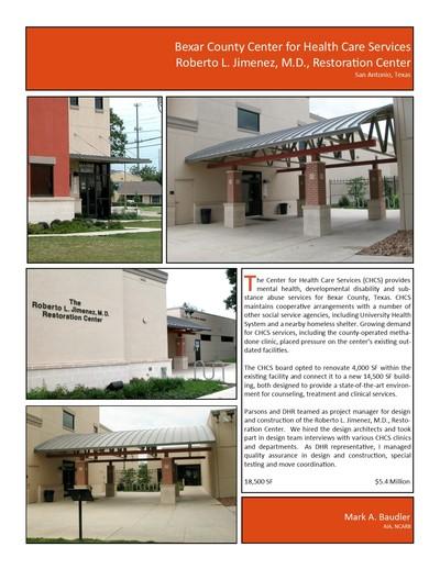 CHCS Roberto L. Jimenez, M.D., Restoration Center
