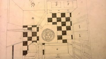 Birds Eye Perspective Drawing ~ Versace' Bathroom