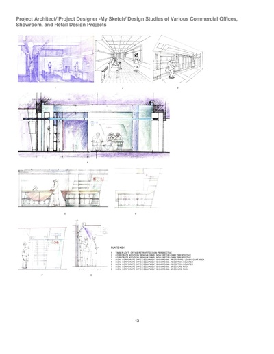 Various design sketches, mostly developed and built
