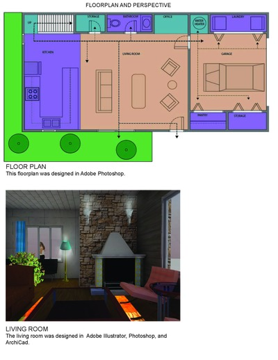 Floor Plan and Perspective Drawings-Photoshop and Illustrator