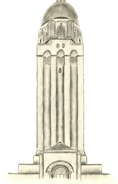 Freehand Drawing, Hoover Tower (Arthur Brown, Jr.)