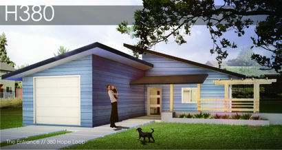 Rendering of the new BILDS house built by University of Oregon students.